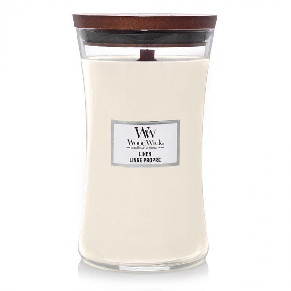 Woodwick Hourglass Large Geurkaars - Linen